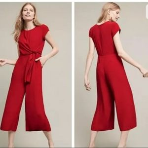 Anthropologie Maeve Red Jumpsuit